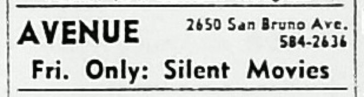 Avenue Theater listing 1969